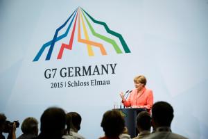 Bundeskanzlerin Angela Merkel spricht auf der Abschluss-Pressekonferenz des G7-Gipfels.