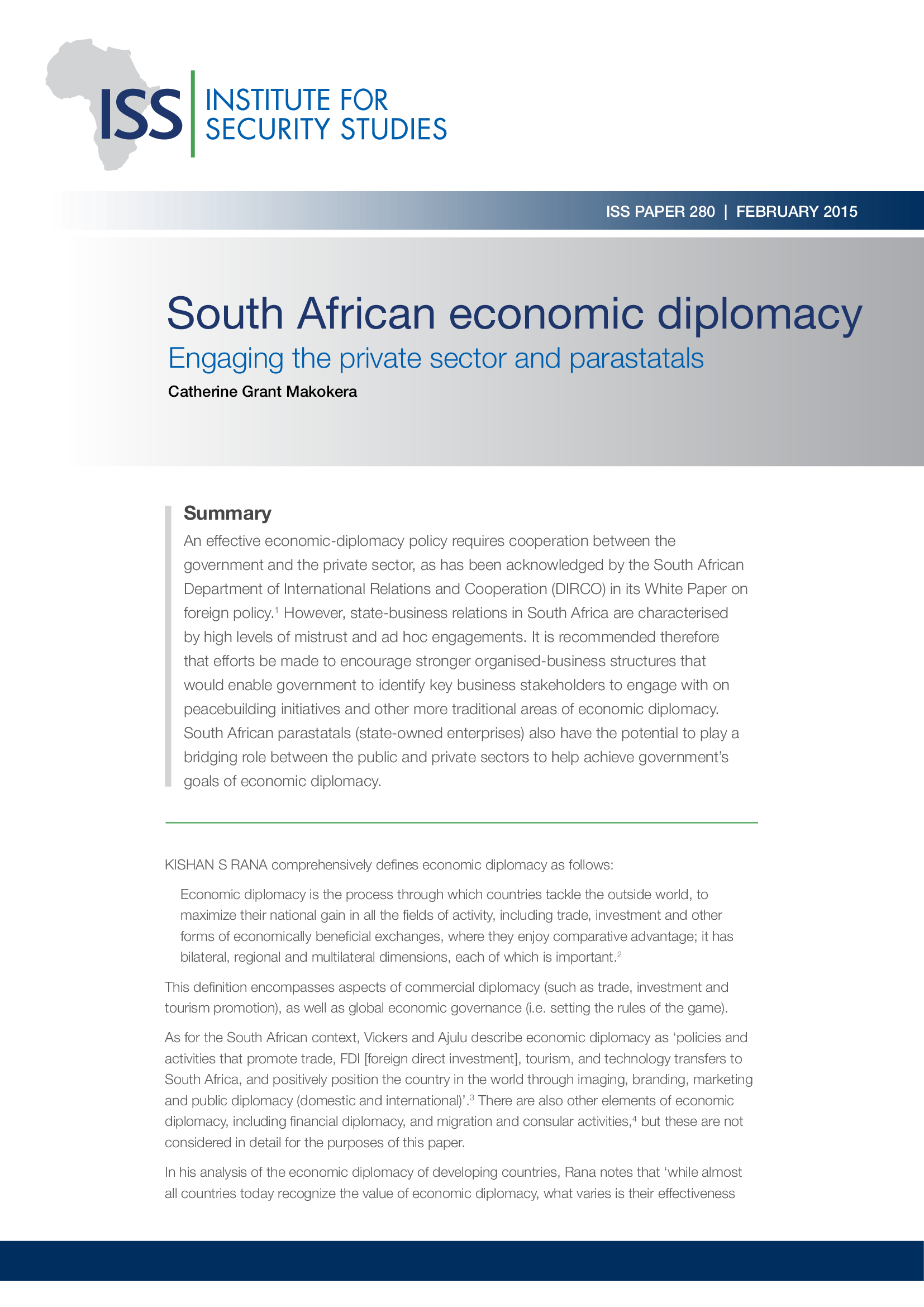 Institute for Security Studies - South African Economic Diplomacy