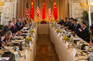 President Donald Trump attends an expanded delegation working group meeting, Friday, April 7, 2017, with Chinese President Xi Jinping at Mar-a-Lago in Palm Beach, Florida. (Official White House Photo by Shealah Craighead)
